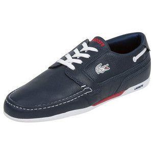 MSRP $95 Lacoste Dreyfus Men Leather Sneakers Dark Blue New Original
