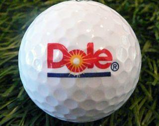 dole logo golf ball maxfli or titleist used no scuffs no pen markings