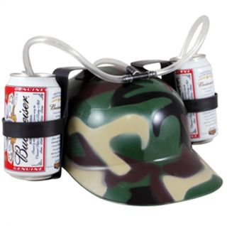 Helmet Hard Hat Funny Party Beer Pop Can Drinking Hat w Straws