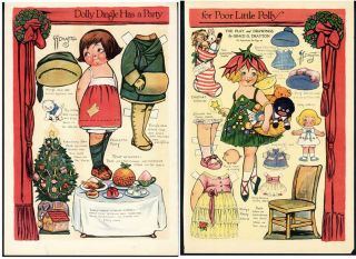 Page Dolly Dingle Paper Dolls Oriiginal Old 1921 Christmas Golliwog