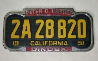 Cadillac License Plate Frame 1940 1955 California Used
