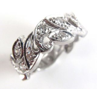 Platinum Antique Style Ladies Eternity Diamond Wedding Band Ring Size