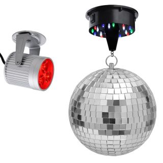 Disco Ball LED Rotating Motor Aluminum Red Spotlight Kit Home Party