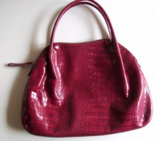 DONNA DIXON Embossed Leather PURSE TOTE PURPLE Large *NEW W/O TAG*