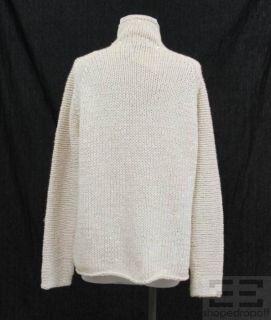 Donna Karan Beige Cashmere Sequin Knit Turtleneck Sweater Size Small