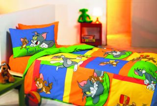 TOM JERRY BEDDING TWIN DUVET 3 PC SET SHEET PILLOW CASE