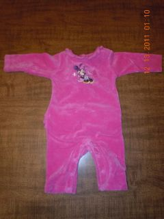 DISNEY STORE BABY GIRL PINK MINNIE MOUSE VELVET OUTFIT 0 3 MONTHS