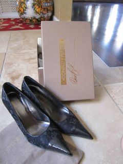 Donald Pliner Pearilized Black Patent Lace Sz 8 NEW and Gorgeous