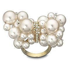 Swarovski Gold Plated Crystal Pearl Donatella Ring