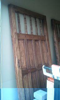 Beautiful, HUGE Hand Carved Hacienda Wood + Metal Carved Sliding Doors