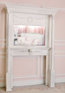 Shabby Cottage Chic Mantel Piece Fireplace Mirror Large French Vintage