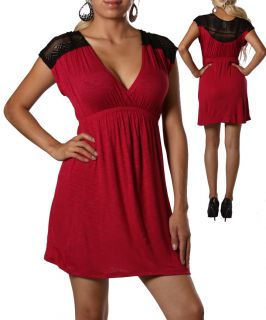 Womans Plus Size Sexy Burgundy and Black Lace Dress 2XL 18 20 New