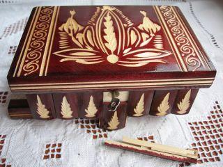 Magic Wooden Puzzle Box w Hidden Compartment Black Red