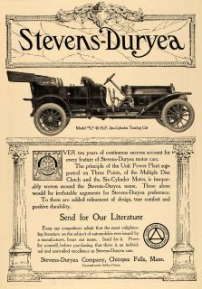 1910 Ad Stevens Duryea Model Y 6 Cylinder Touring Car Original