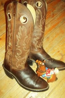 DOUBLE H KNEE HIGH COWBOY BOOTS TALL SHAFT BROWN COWBOY BOOTS WESTERN