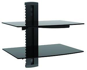 Tier Shelf Wall Mount Bracket Under TV Dual Glass Shelves DVD Bluray