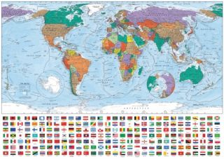 World Portrait Map Flag 1000 Piece Jigsaw Puzzle Game