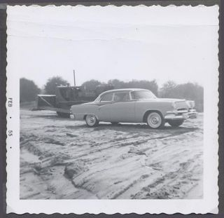 Car Photo 1955 Dodge Custom Royal Lancer w Caterpillar Crawler Tractor