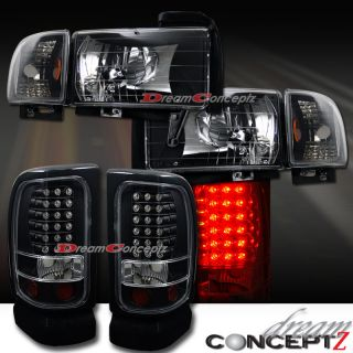 Dodge RAM 1500 2500 3500 Headlights Corner Lights Black Style LED Tail