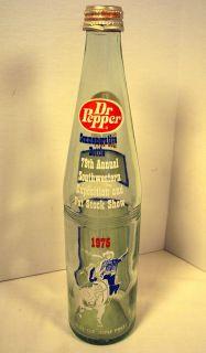 Vtg Dr Pepper Soda Bottle 1975 Southwestern Stock Show Rodeo Cowboy