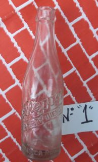 Mexican Old Pressed Glass Dr Pepper Soda Bottle GLASS LG 10 2 4 7 5