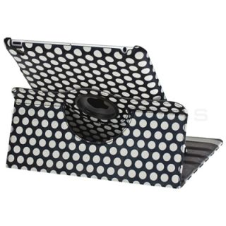360 Degree Rotating Magnetic Polka Dot Leather Cover Case Stand