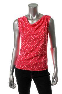Jones New York New Pink Polka Dot Twisted Draped Top Blouse Petites PS