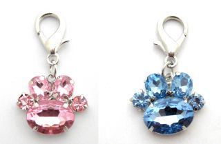 2pcs Dog Charms Pink and Blue Paw Charms Pet Jewelry Collar Charms