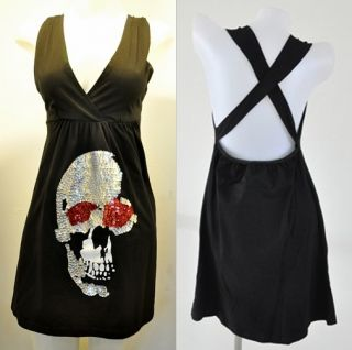 XXL Halooween Rockabilly Skull Punk Party Emo Vtg Goth Mini Dress