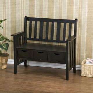 Drawer Black Country Bench 3 Storage Drawers Seat Entryway Foyer