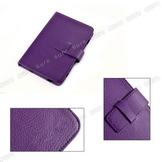 Tablet PC Ebook Reader Leather Case Cover Pouch Purple Universal