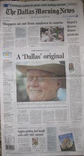 Authentic DALLAS NEWSPAPER J R Ewing Larry Hagman Dies 1931 2012