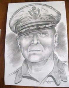WWII Drawing of General Douglas MacArthur 82nd Airborne Lou Varrone