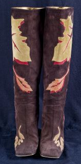 Dolce & Gabbana Brown SUEDE Fall Autumn Leaves Leaf Womens Boots Sz 10