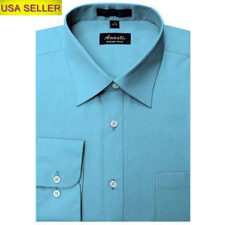 Mens Solid Teal Blue Wedding Formal Dress Shirt