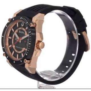 98B152 Mens Precisionist Champlain Black Rose Gold Plated Watch