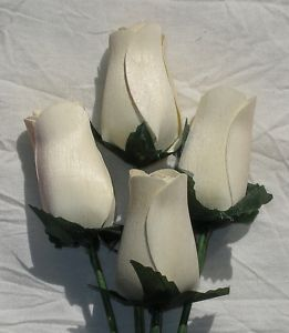 One 1 Dozen Scented Long Stem Wooden White Roses