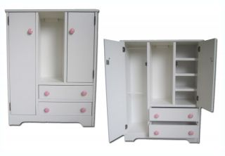 Doll Wardrobe American Made Fits 18 Doll Furniture Storage Closet Girl