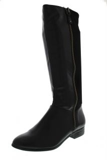 Drew Black Pleather Stretch Jersey Knee High Riding Boots Shoes 6
