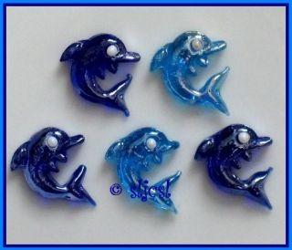 DOLPHINS * glass shapes GEMS Mosaic TILE Tiles Blue DISCONTINUED