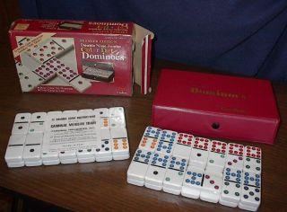 Dominoes Double Nine 9 White Jumbo Color Dots Cardinal Mexican Train