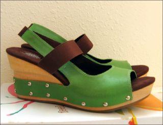 Dr Scholls Wood Wedge Studded Green Sandal Platform Heel Shoe Size 8