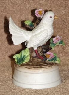 Milano Porcelain White Dove Bird Sculpture by Eda Mann Music Box 5 3 4