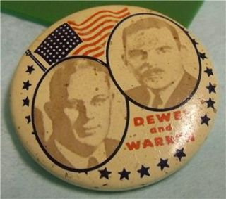 Political Campaign Button Dewey and Warren Pinback