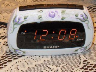 Victorian Cottage Chic Hand Painted Lavender Rose Sharp Alarm Clock