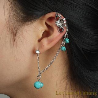 Hippocampus Turquoise Crystal Chain Clip Ear Cuff Stud Earrings