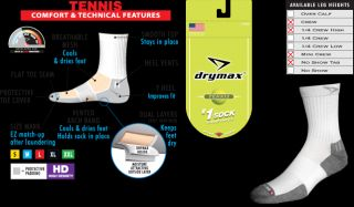 Drymax Tennis 1 4 Crew Socks 3 Pair Pack New with Tags Made in USA