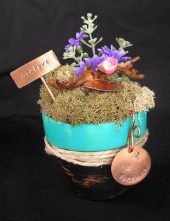 Serenity Miniature Fairy Garden Mini Copper Birdbath Stake Flower Pot