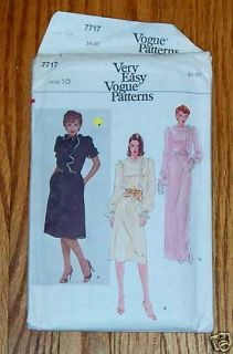 Vogue 7717 Womens Elegant Dress Vintage Easy Pattern Sz 10