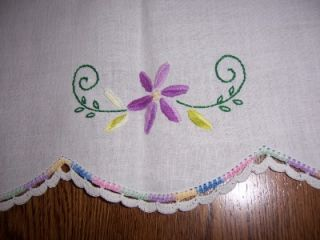 Flower Embroidery Dresser Scarf Doily Crochet Edge Runner 38